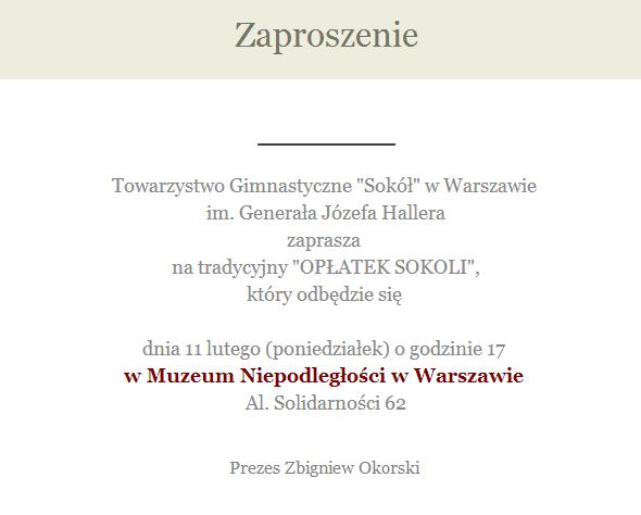 """TG """"Sokół"""" w Warszawie zaprasza na """"OPŁATEK SOKOLI"""" !"""